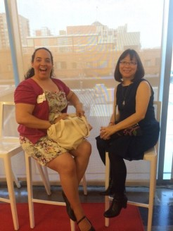 A picture, courtesy of SLJ, of Shelley Diaz, senior review editor for SLJ and myself.